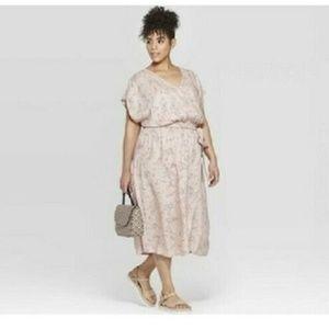 New AVA & VIV Pink Floral Faux Wrap Dress 4X